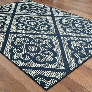 Salerno Floral Scroll Lattice Navy/Ivory Indoor/Outdoor Area Rug