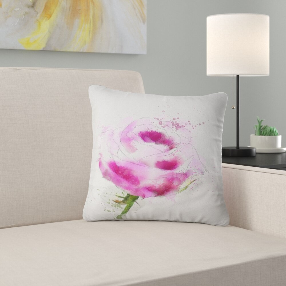 East Urban Home Floral Rose Sketch Illustration Throw Pillow Wayfair