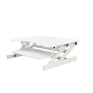 Rocelco DADR Height Adjustable Sit to Standing Desk Riser and Converter 37 White With Anti Fatigue Mat