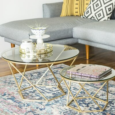 Adrianna 2 Piece Coffee Table Set Base Color: Gold by Everly Quinn