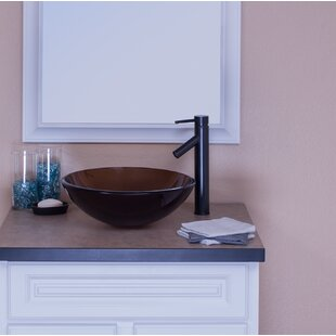 Topia Glass Circular Vessel Bathroom Sink with Faucet