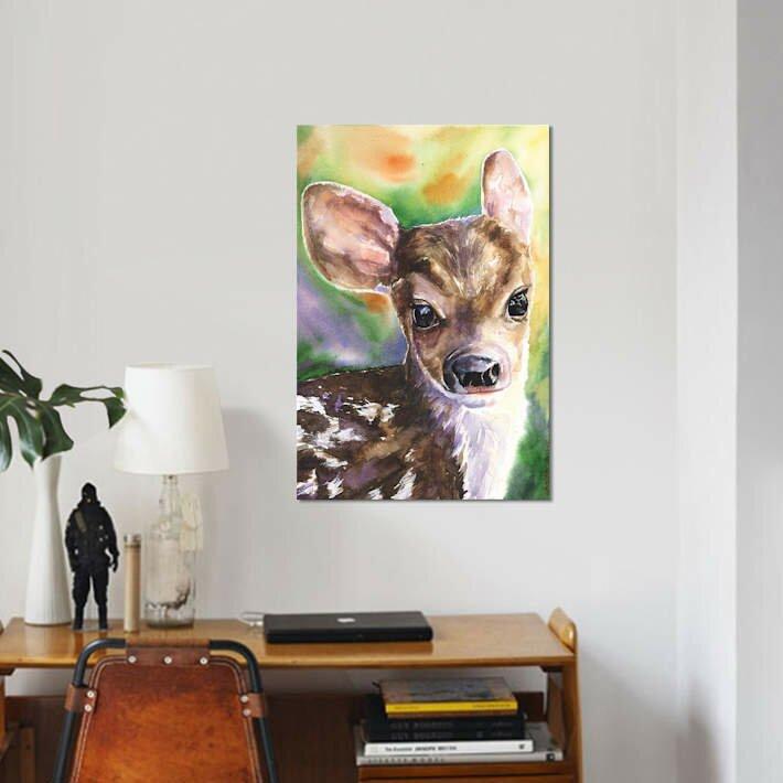 East Urban Home Deer Fawn Print On Canvas Wayfair