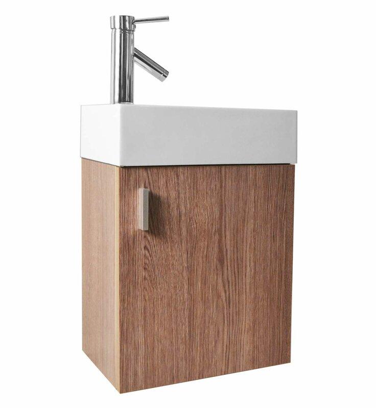 "16 Bathroom Vanity virtu usa carino 16"" single bathroom vanity set with white top"