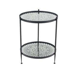 Glen Ellyn Modern Round 2-Tier Glass Patio Table