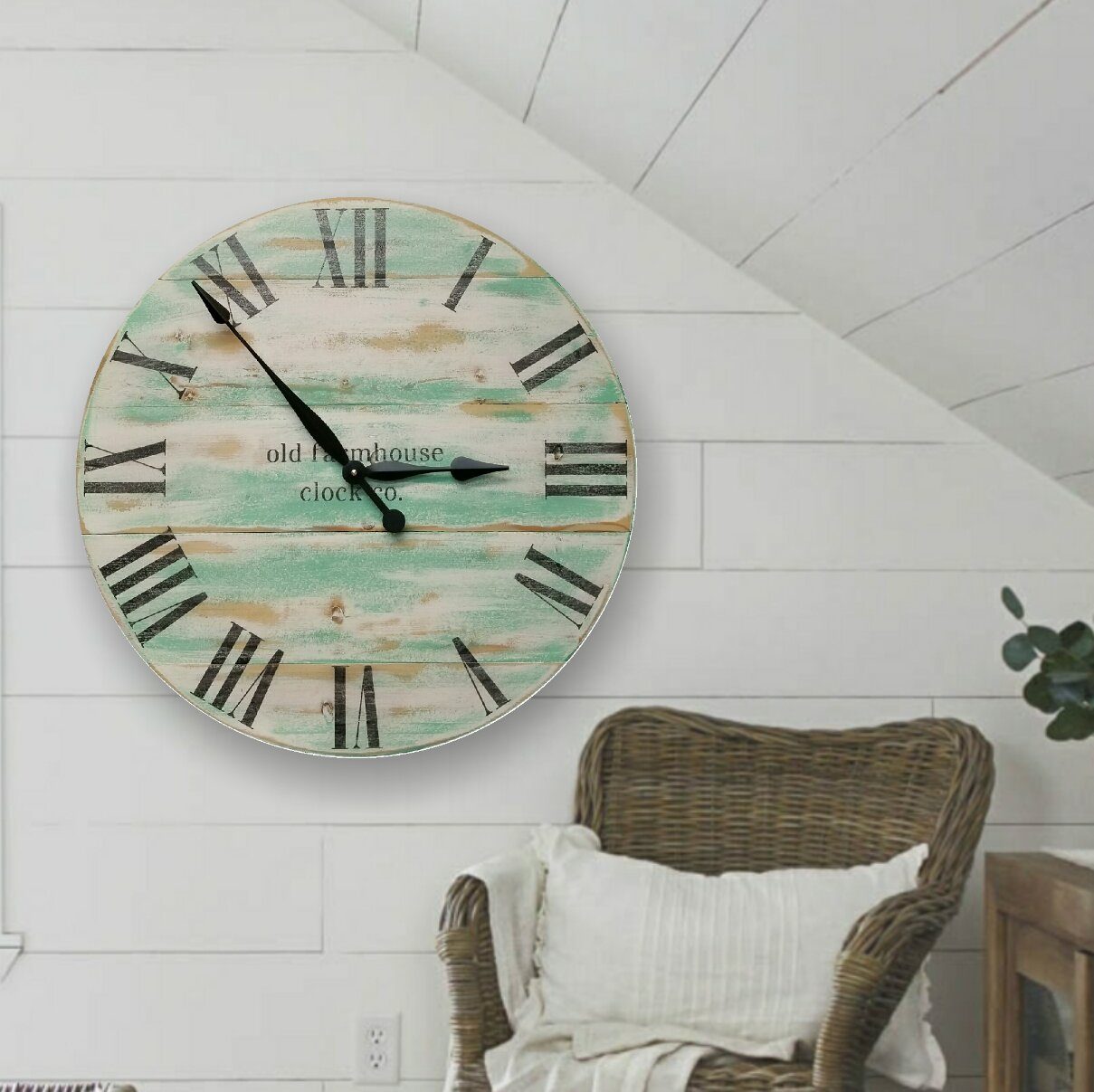 Gracie Oaks Oversized Vanscoy Farmhouse Wall Clock | Wayfair