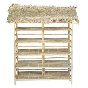Maloney Bamboo Thatch Etagere Bookcase