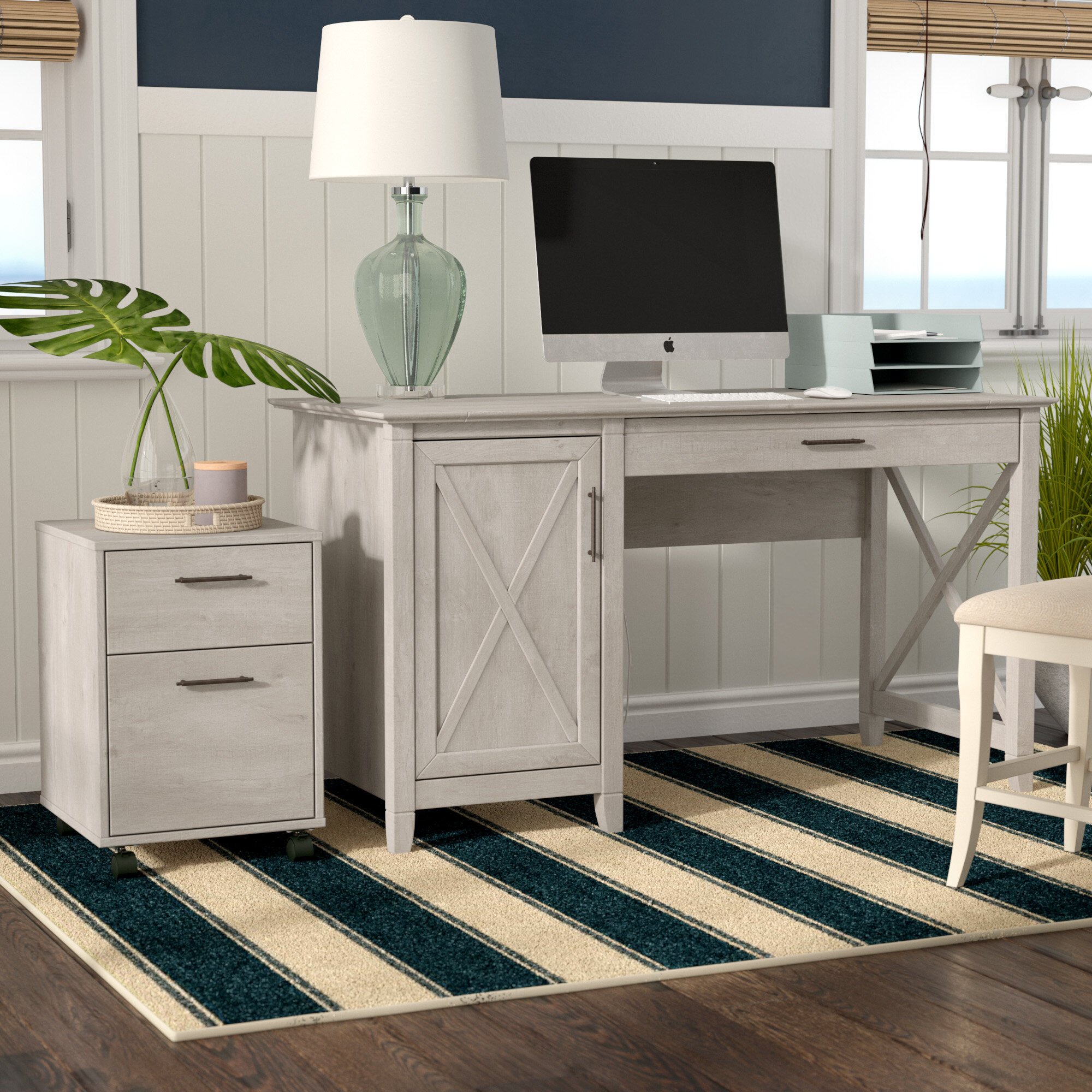 Beachcrest Home Oridatown Computer Desk With 2 Drawers Mobile Pedestal Reviews Wayfair