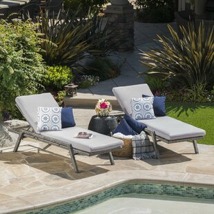 Orren Ellis Thebes Reclining Chaise Lounge with Cushion (Set of 2)