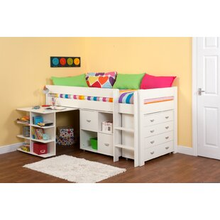 Kool European Single Mid Sleeper Loft Bed With Drawers And Shelves By Stompa