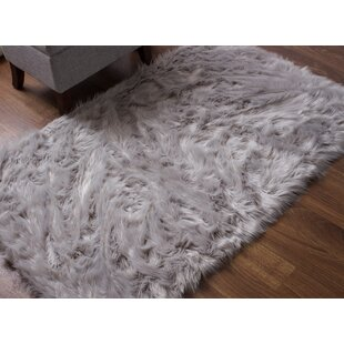 Check Price Today Now Charlotte Handmade Faux Fur Gray Shag Area Rug House of Hampton