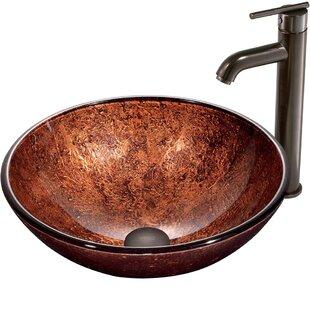 VIGO Glass Sink Glass Circular Vessel Bathroom Sink with Faucet