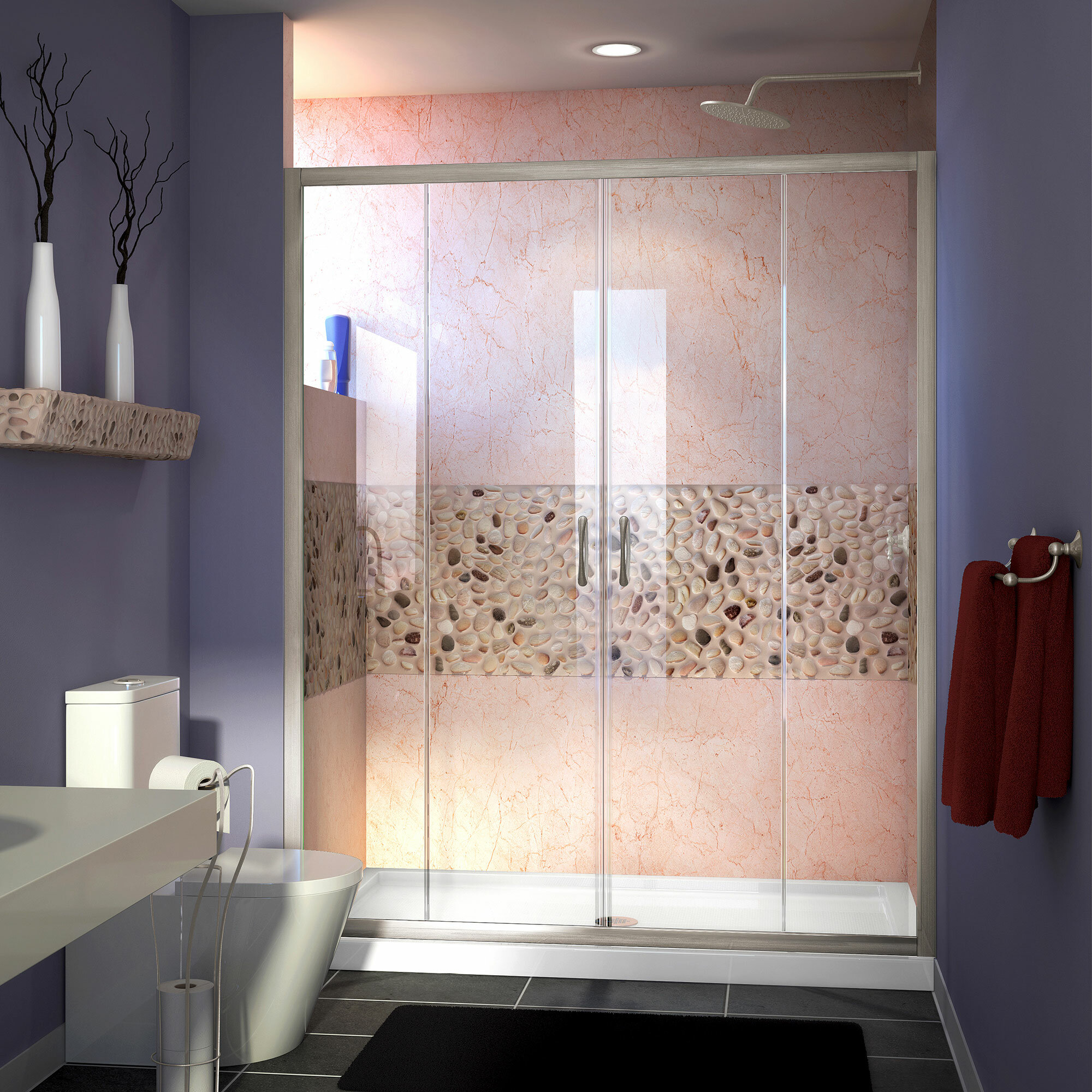 Visions 60 X 72 Double Sliding Semi Frameless Shower Door