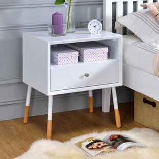 George Oliver Whisman Nightstand with Open Storage and Drawer