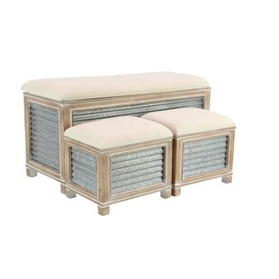 Wiggins Farmhouse Upholstered Storage 3 Piece Bench Set