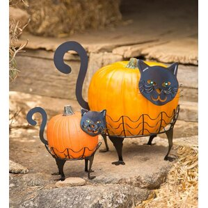 2 piece cat pumpkin holder figurine set - Pictures Of Halloween Decorations