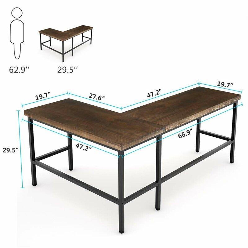 Williston Forge Marcum Solid Wood L Shape Desk Reviews Wayfair