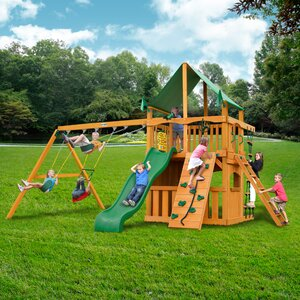 Chateau Clubhouse with Amber Posts and Canopy Cedar Swing Set