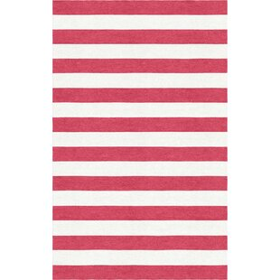 Top Reviews Rauseo Stripe Hand-Tufted Wool Red/White Area Rug By Latitude Run