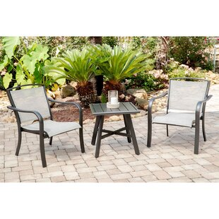 Foxhill 3-Piece Commercial-Grade Patio Seating Set with 2 Sling Lounge Chairs and a 22 Square Slat-Top Side Table by Charlton Home