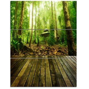Wooden Platform In Green Forest Wall Art On Wred Canvas