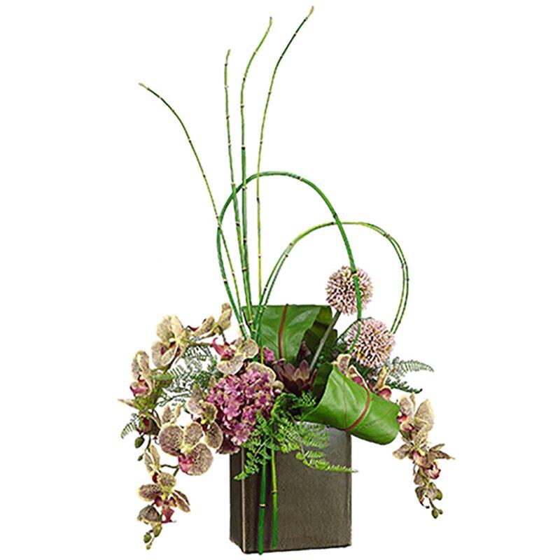 House Of Hampton Silk Mixed Floral Arrangement In Planter Wayfair
