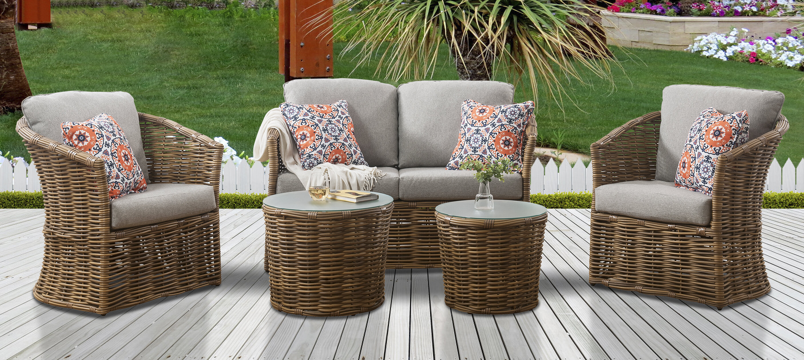 Bayou Breeze Iowa 5 Piece Rattan Sofa Seating Group With Cushions Wayfair