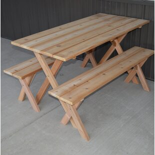 August Grove Vindas Cedar Economy Wooden Picnic Table