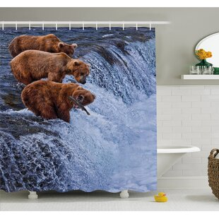 Wildlife Grizzly Bears Fishing in River Waterfalls Cascade Alaska Nature Camp View Shower Curtain Set