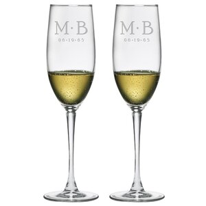 Dot Monogram and Date Champagne Flute (Set of 2)