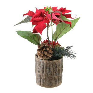 Artificial Poinsettia Floral Arrangement in Pot