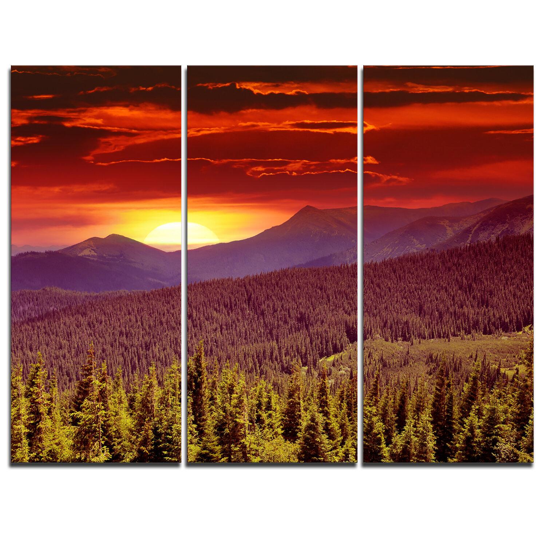 Designart Fantastic Sunrise In Mountains 3 Piece Graphic Art On Wrapped Canvas Set Wayfair