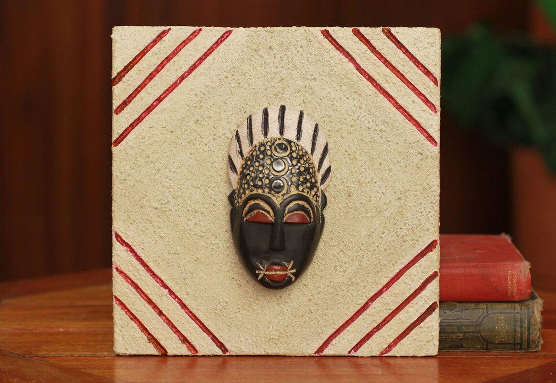 Novica Born on Thursday Authentic Ashanti African Mask on a Ceramic ...