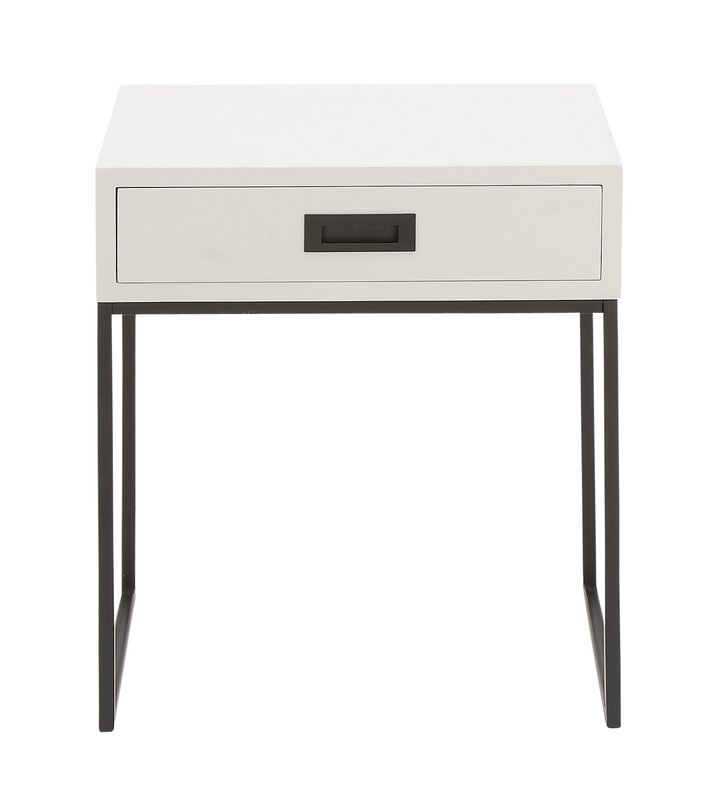 Cole Grey Wood And Metal End Table Reviews Wayfair