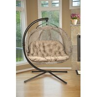 Orren Ellis Furkan Pumpkin Double Swing Chair with Stand