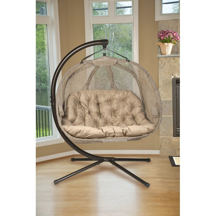 Furkan Pumpkin Double Swing Chair with Stand