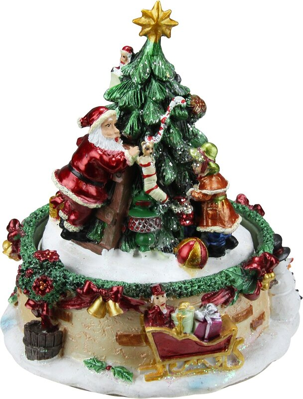 Christmas Musical Scenes Ornaments Part - 25: Animated Santa Claus And Christmas Tree Winter Scene Rotating Music Box