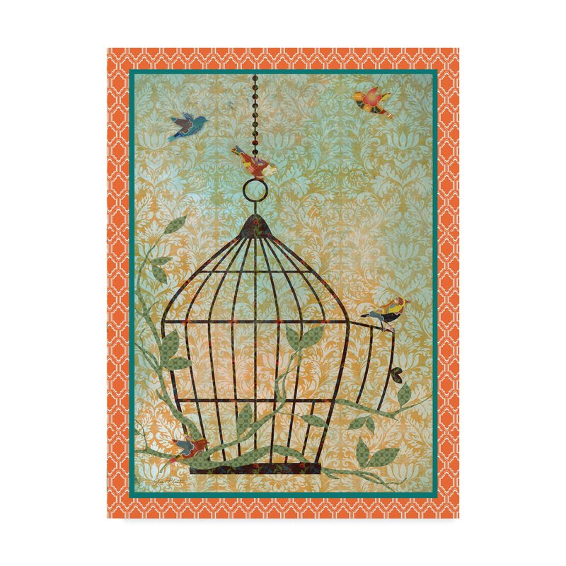 Charlton Home Bird Cage Escape Graphic Art Print On Wrapped Canvas Wayfair