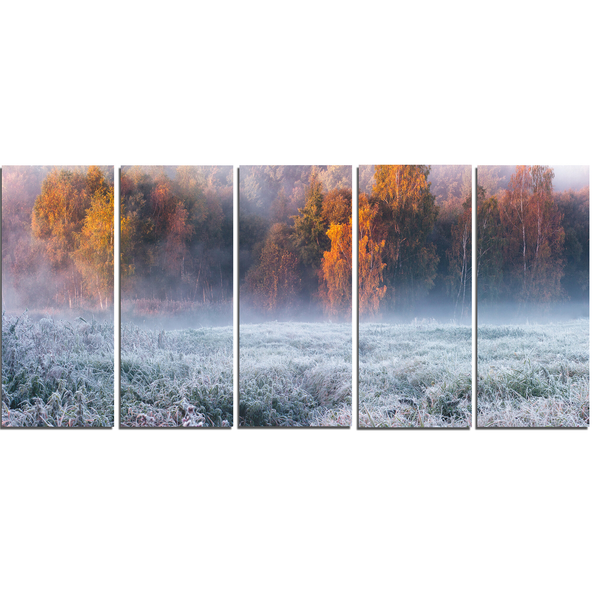 Designart Grey Hoarfrost Design By Winter 5 Piece Wall Art On Wrapped Canvas Set Wayfair