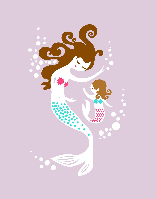 Evive Designs Mermaid And Daughter Paper Print Reviews Wayfair