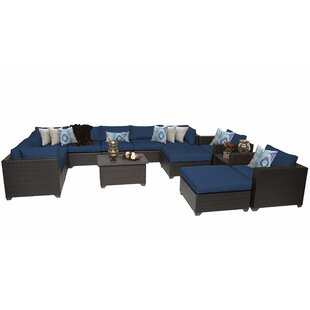 Fernando 13 Piece Rattan Sectional Seating Group with Cushions