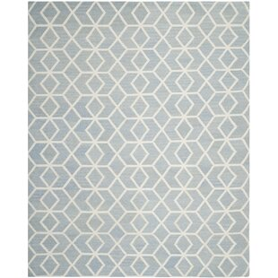 Dhurries Dhurrie Wool Blue Ivory Area Rug