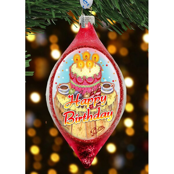 The Holiday Aisle Happy Birthday Glass Finial Ornament Holiday Splendor Collection Wayfair