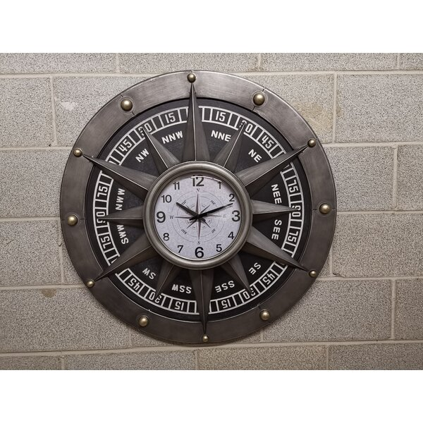 Longshore Tides Oversized Buettner Compass Metal 11 Wall Clock Wayfair Ca