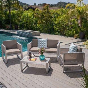 Ebern Designs 4 Piece Conversation Set with Cushions