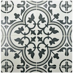 black and white tile floor. Artea 9 75  x Porcelain Field Tile in Dark Gray White Floor You ll Love Wayfair