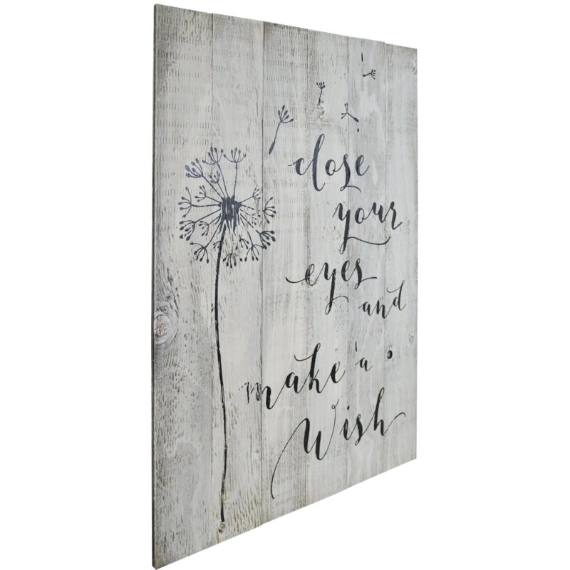 846f1e7a237 'Close Your Eyes and Make a Wish' Textual Art on Manufactured Wood. '