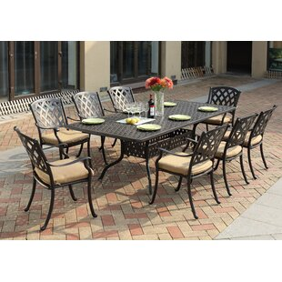 Campton Contemporary 9 Piece Dining Set with Cushion by Fleur De Lis Living