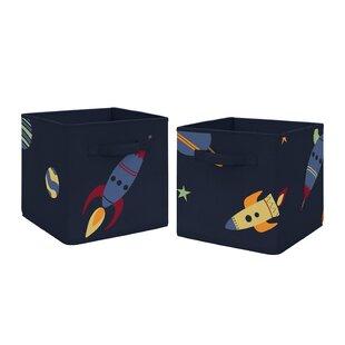 Reviews Space Galaxy Fabric Bin (Set of 2) BySweet Jojo Designs