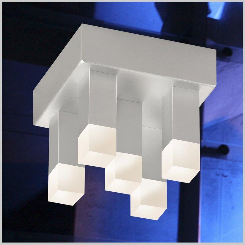 Orren Ellis Mokena 5 Light 5 Cluster Square Flush Mount Wayfair