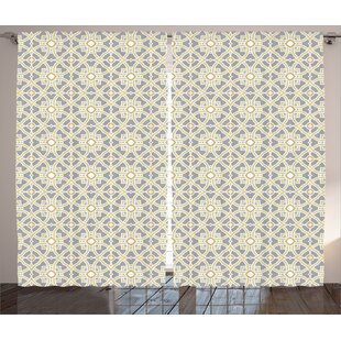 Seymour Geometric Arabesque Moroccan Floral Azulejos Inspired Squares Circles Artwork Graphic Print & Text Semi-Sheer Rod Pocket Curtain Panels (Set of 2) by Alcott Hill